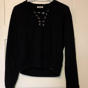 Black lace up sweater from garage